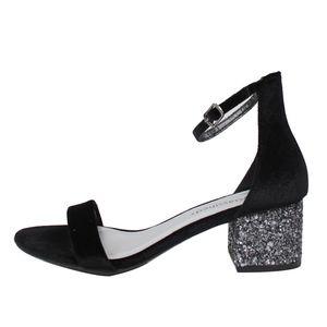 Shoes - Black Velvet Ankle Strap Glitter Heel SIZE 8